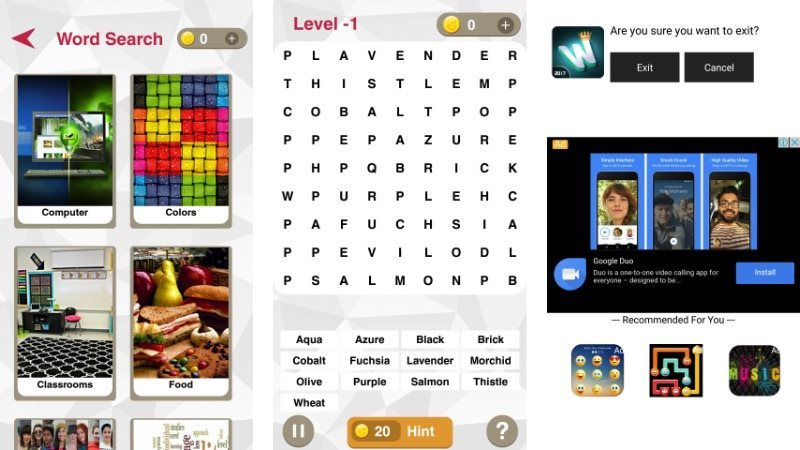 Word Search Android Puzzle Game Admob Integration