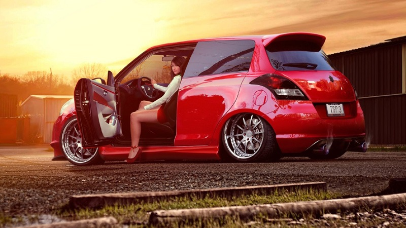 Girl and Red Car HD Wallpaper