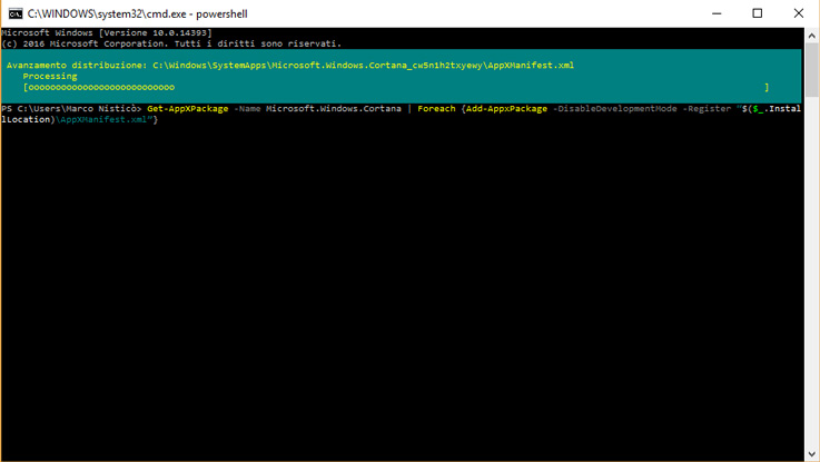 Installazione del package di Cortana tramite PowerShell