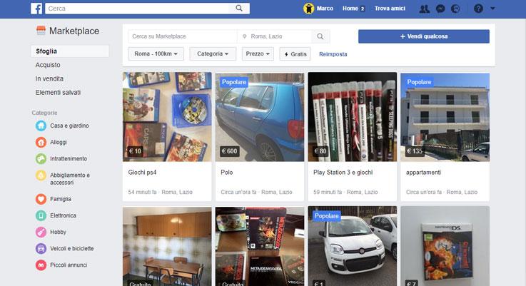 Elencor delle inserzioni del Facebook Marketplace