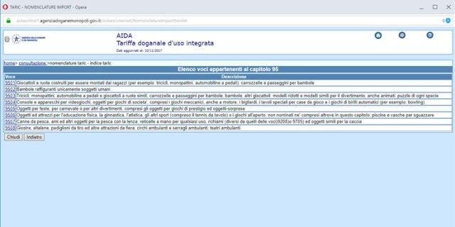 Categorie specifiche dell'Agenzia Doganale