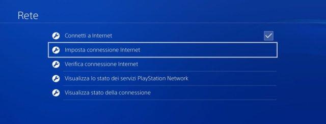 Connessione internet su PS4