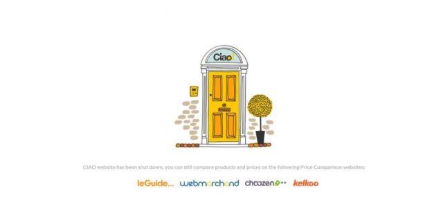 Pagina di chiusura di Ciao.it