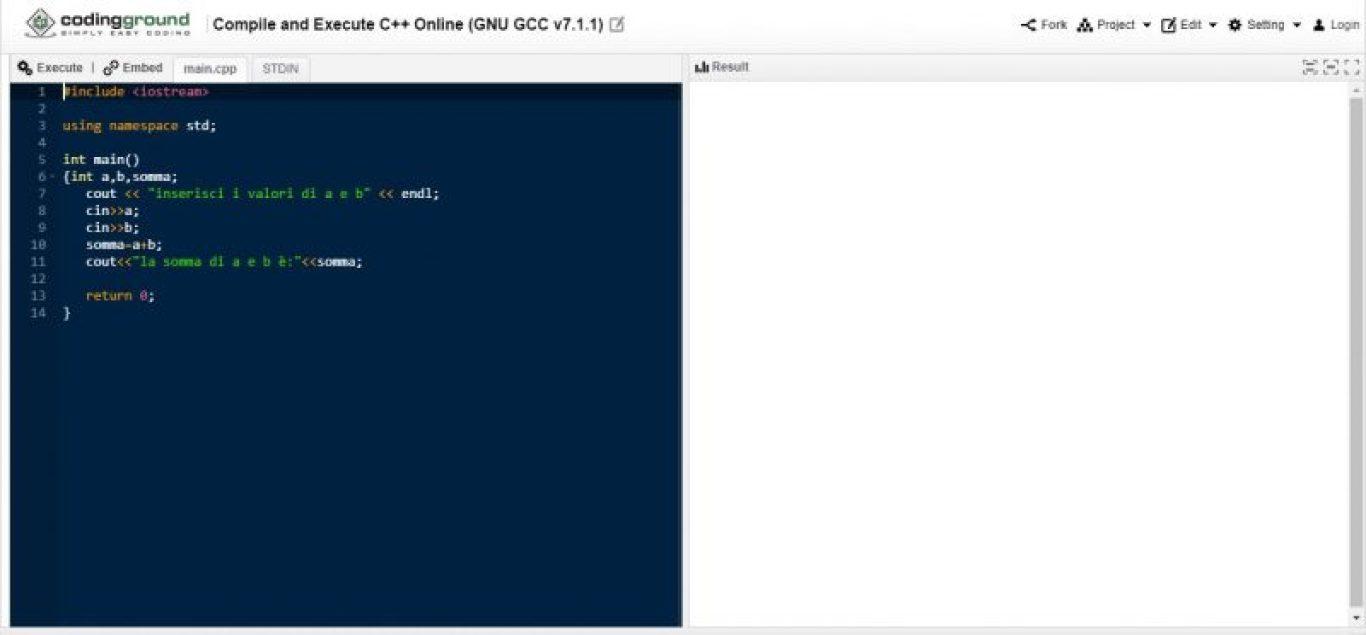Programmare online in C++ con Codingground