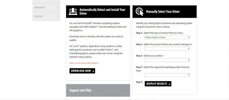 Schermata di download dei driver AMD