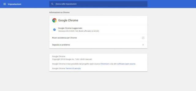 Ottimizzare Google Chrome aggiornando il browser