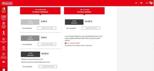 Abbonamenti Nintendo Switch Online