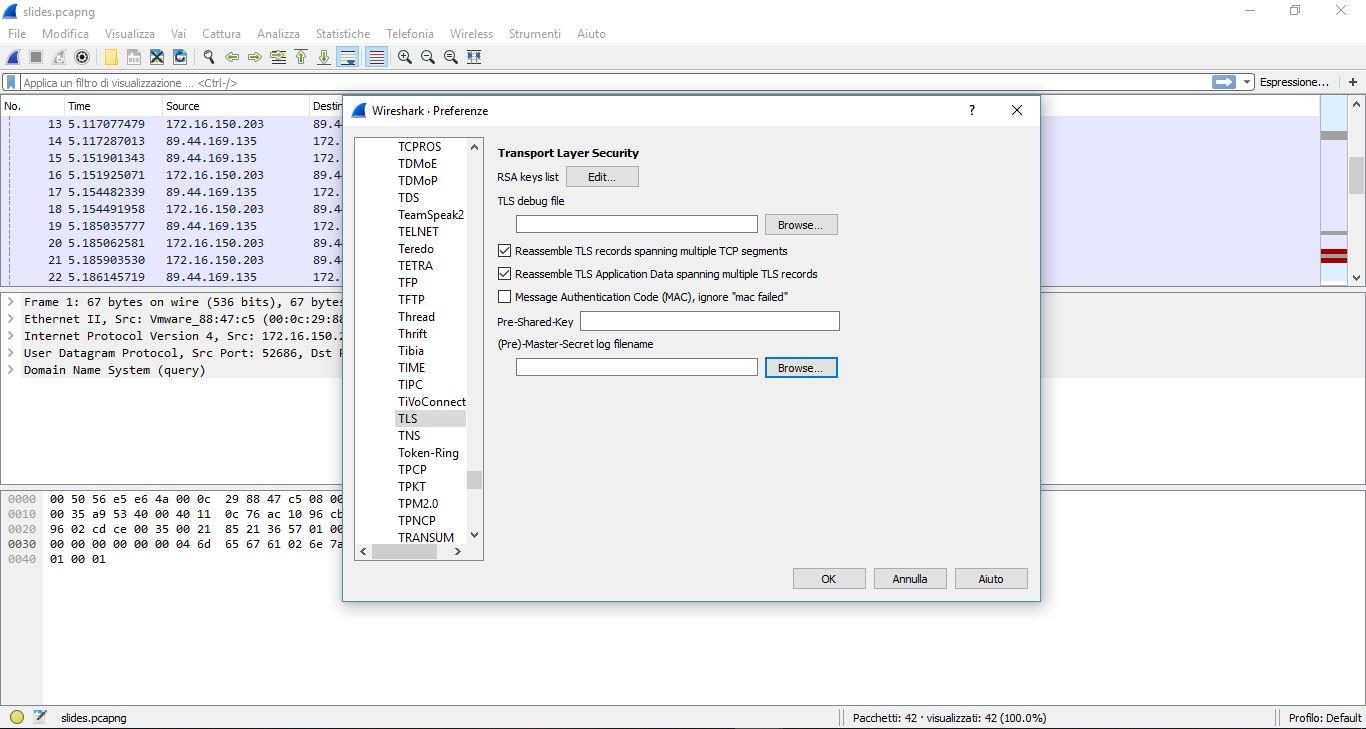 File secrets su Wireshark