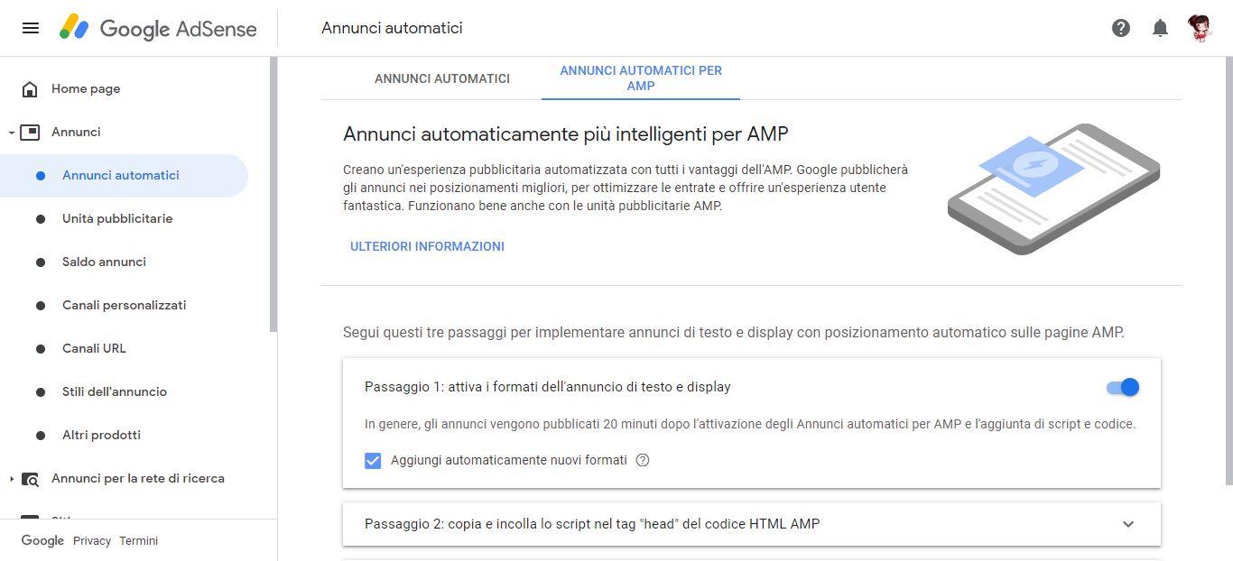 Annunci AMP di Google AdSense