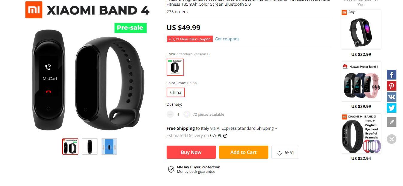 Xiaomi Mi Band 4 prezzo AliExpress