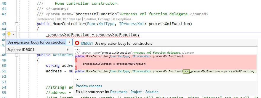 editorconfig VS 2017 - expression bodied constructor - csharp_style_expression_bodied_constructors rule