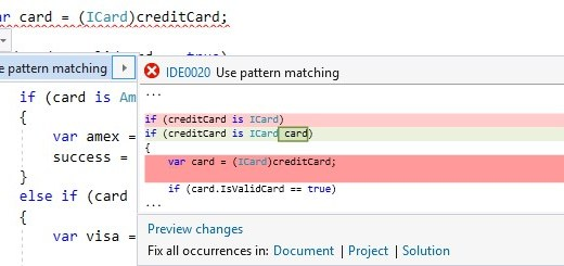 editorconfig VS 2017 - use pattern matching - csharp_style_pattern_matching_over_is_with_cast_check rule