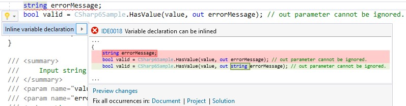 editorconfig VS 2017 - variable decalaration can be inlined - csharp_style_inlined_variable_declaration rule