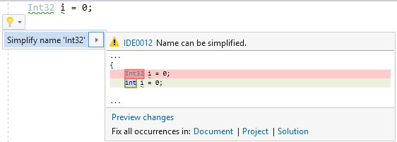 editorconfig vs 2017 rule dotnet_style_predefined_type_for_locals_parameters_members