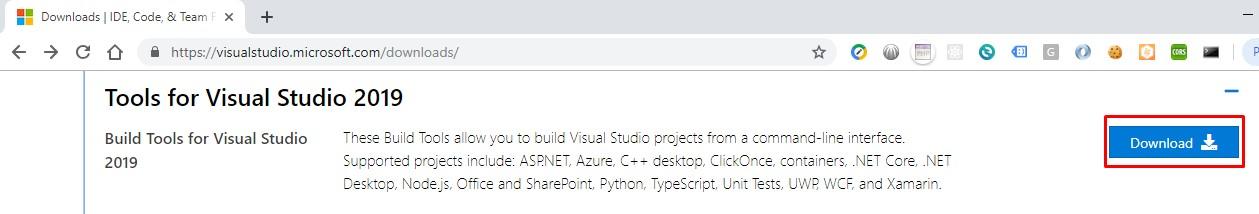 Build Tools for Visual Studio 2019