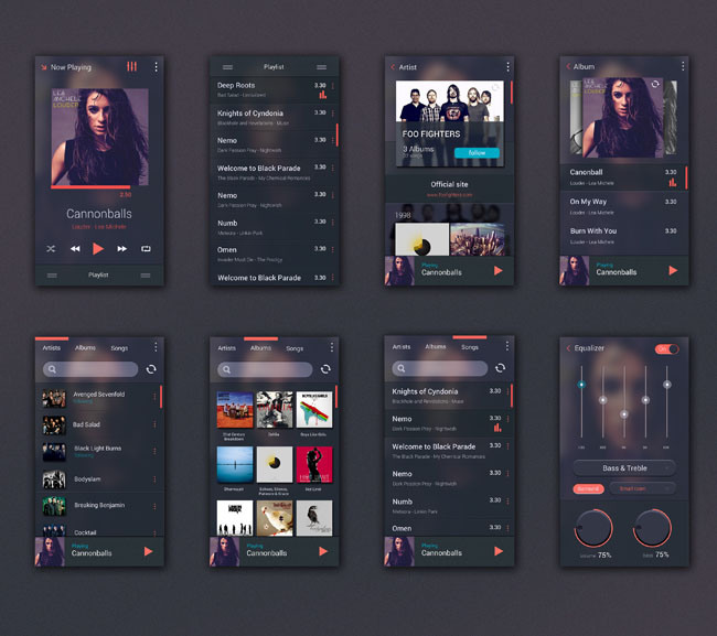 Free Psd Music Player Ui Kit For Android Techclient