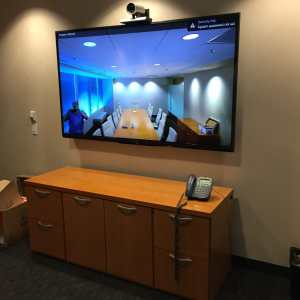 "80"" monitor with Cisco SX20 VTC."