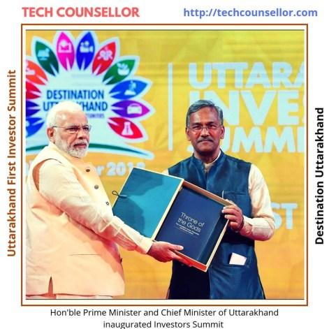 Hon'ble Prime Minister, Shri Narendra Modi ji presented with a memento by Hon'ble Chief Minister Shri Trivendra Singh Rawat (CM Uttarakhand)
