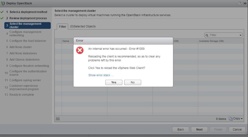 An internal error has occurred - Error #1009 : Message