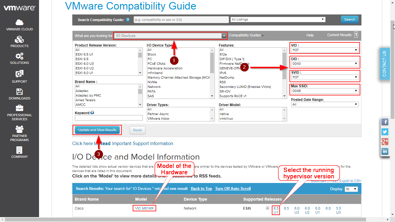 How To Find The Correct PCI Driver For ESXi Host - Use of VID, DID
