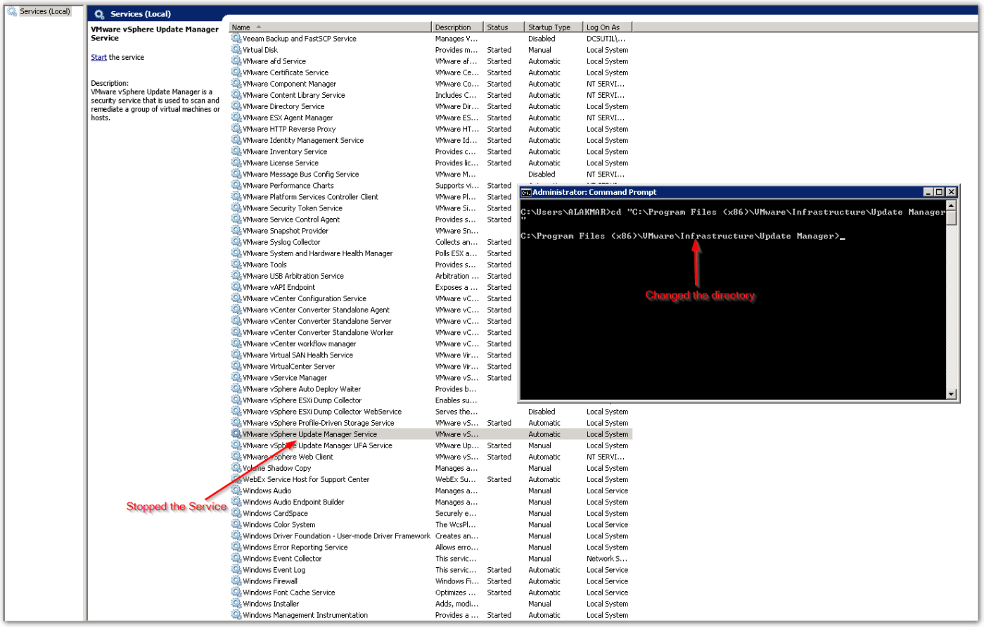 VMware vSphere Update Manager had an unknown error  Check