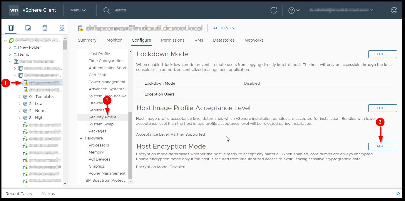 ESXi Host Encryption: Enable Host Encryption