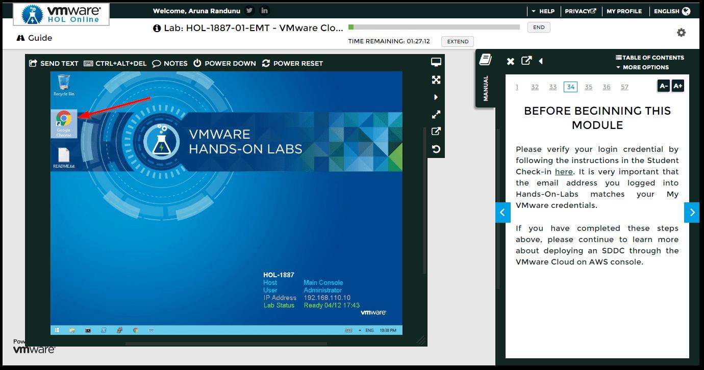 VMware Cloud on AWS : Open Chrome