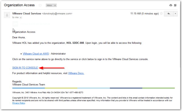 VMware on AWS : Email Confirmation