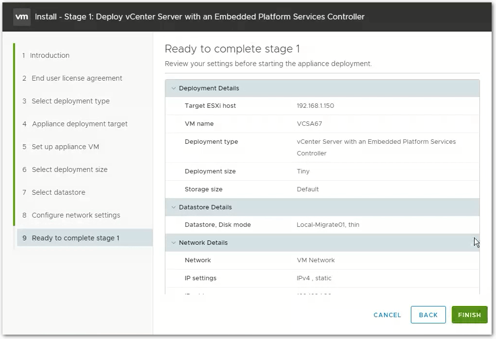vCenter Server 6.7 : Summary