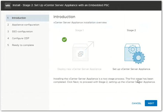 vCenter Server 6.7 : Stage 2 Introduction