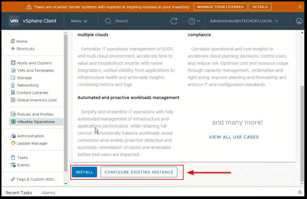 vCenter Server 6.7 : vRealiza install