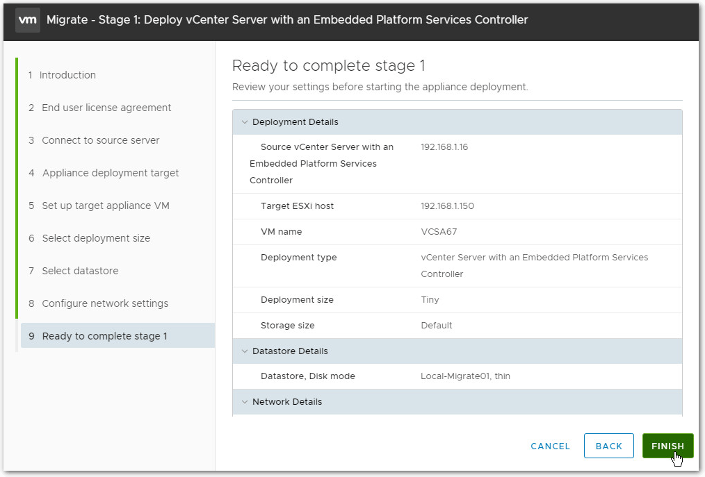 Migrate Windows Based vCenter Server to VCSA 6.7 : Finish
