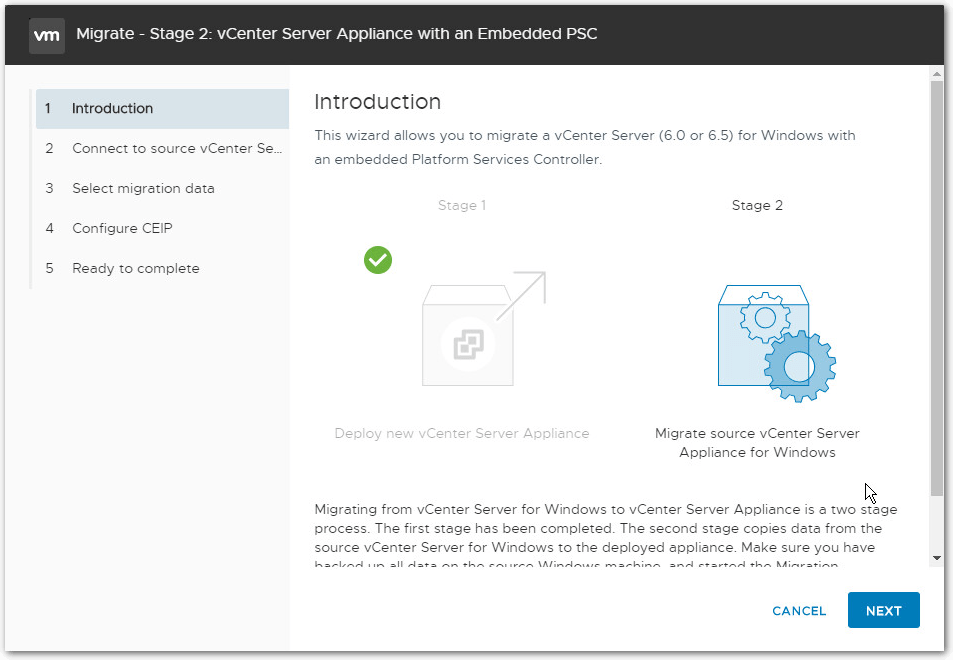 Migrate Windows Based vCenter Server to VCSA 6.7 : Stage 2 Intro