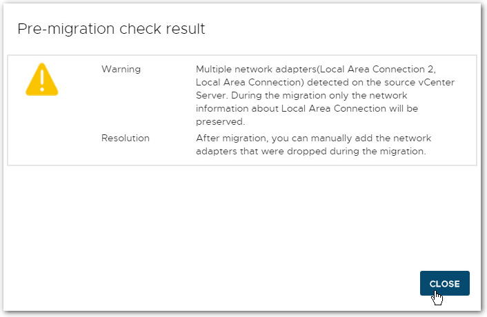 Migrate Windows Based vCenter Server to VCSA 6.7 : Pre-Check results