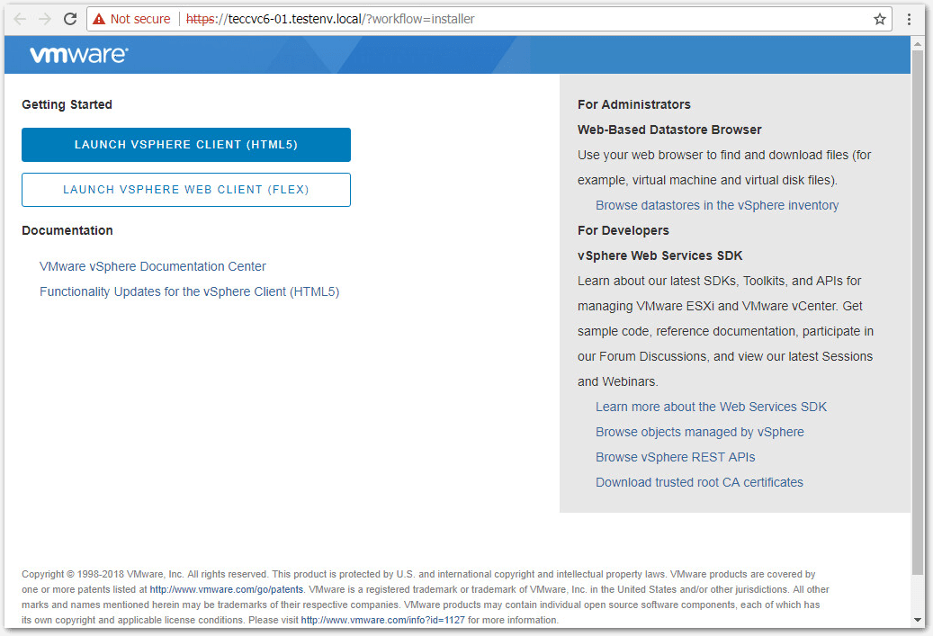 Migrate Windows Based vCenter Server to VCSA 6.7 : Client