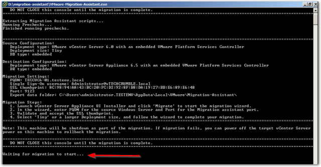 Migrate Windows Based vCenter Server to VCSA 6.7 : Waiting for Migration to start