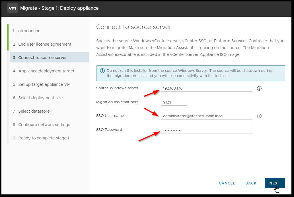 Migrate Windows Based vCenter Server to VCSA 6.7 : vCenter Server details