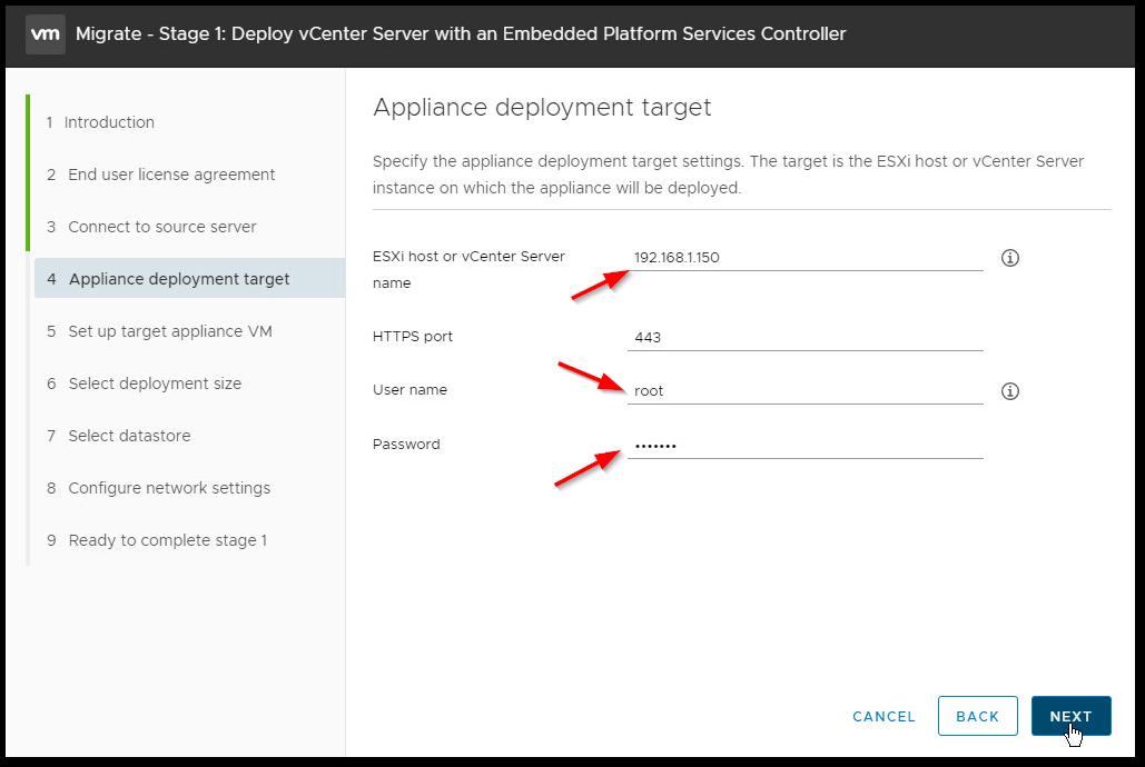 Migrate Windows Based vCenter Server to VCSA 6.7 : Target Host