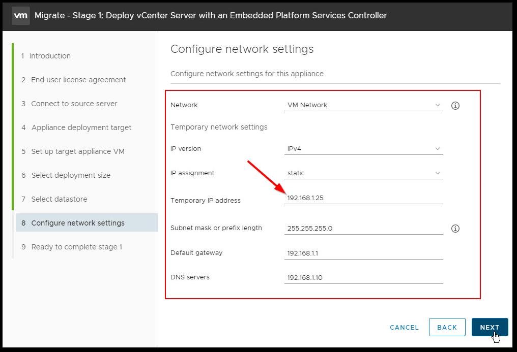 Migrate Windows Based vCenter Server to VCSA 6.7 : temp IP