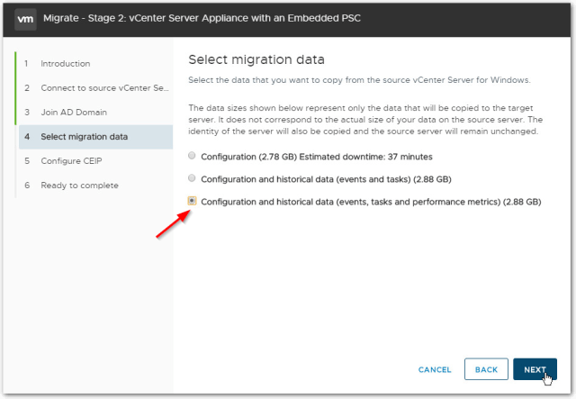 Migrate Windows Based vCenter Server to VCSA 6.7 : Migration data