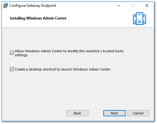 Windows Admin Center : Modify Trusted Hosts