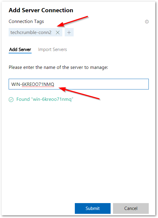 Windows Admin Center : Tags and FQDN