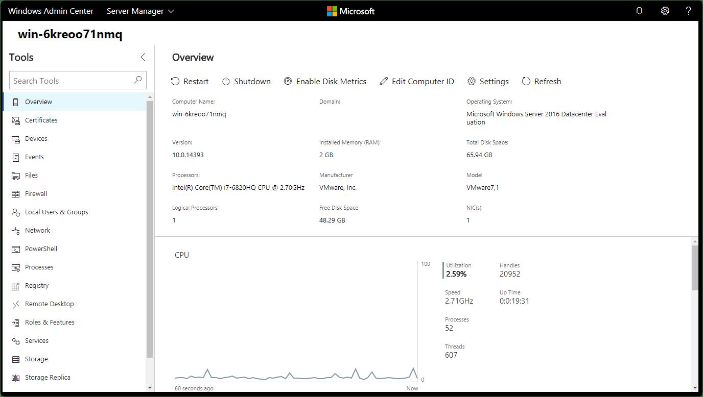 Windows Admin Center : remote Server