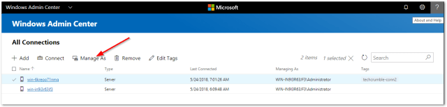 Windows Admin Center : Manage As