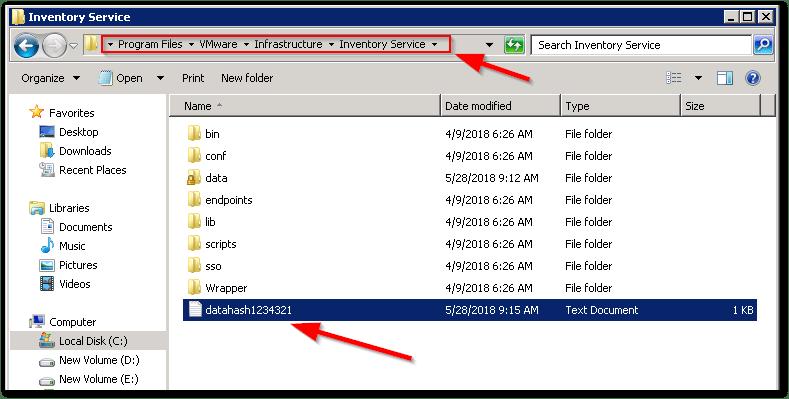 Reset vCenter Inventory Service Database : Output file