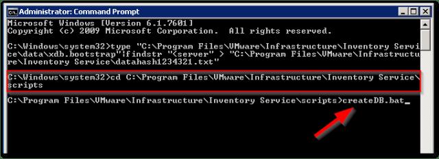 Reset vCenter Inventory Service Database : createDB.bat