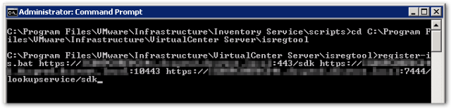Reset vCenter Inventory Service Database : isregcommand