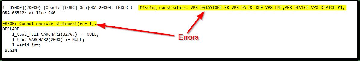 Source vCenter Server Schema validation found an issue : Errors