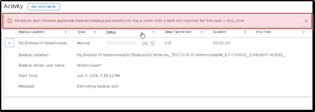 VCSA 6.7 Backup Failed : error message