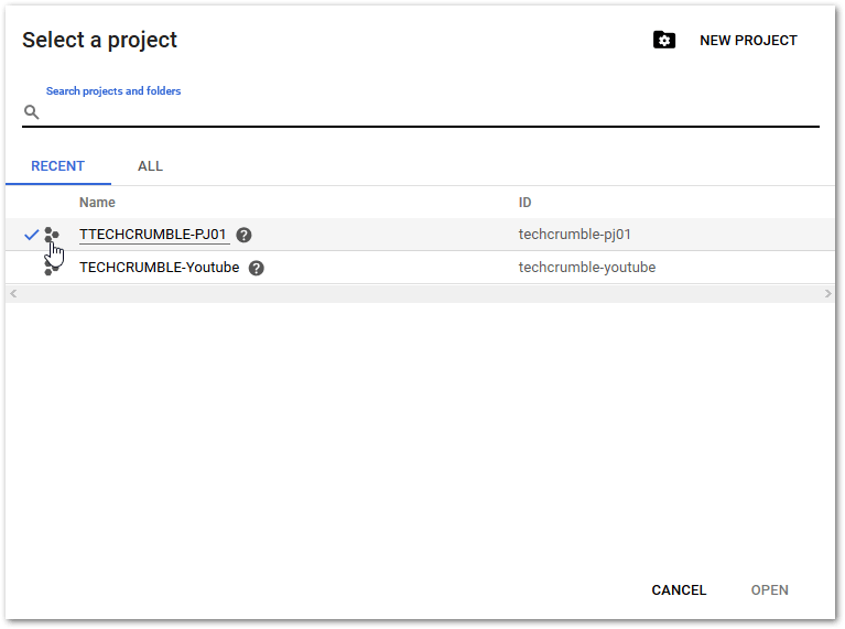 started with Google Cloud Platform : New Project access